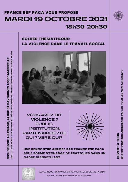 Flyer soiree thematique la violence dans le travail social 19 10 2021